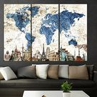 Extra Large Modern wall Art Canvas Print World Map With Country Names, Push Pin Travel World Map Wall Art 3 pieces Canvas, Watercolor Map of the World Print Home Decor q89