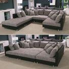 Wohnlandschaft Claudia XXL Ecksofa Couch Sofa mit Hocker schwarz und Graubeige günstig kaufen | eBay