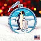 Holiday Ornaments - Christmas Ornaments - Penguin Pals Cut Ball Glass Ornament By G. Debrekht, Wildlife & Nature Decor - 764-001