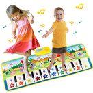 EXTSUD Piano Mat Klaviermatte Tanzmatten Kinder 8 Instrumenten Klaviertastatur Kinderspielzeug ab 3 Jahre,Keyboard Matten Spielteppich Baby Tanzmatte Musikmatte Geschenk für Jungen Mädchen 100*36 cm