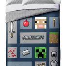 Kids Gaming Minecraft Icon Adventure Bedding Reversible Comforter Set Twin/Full