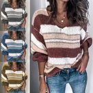 Winter New Stitching Sweater V-neck Striped Sweater Women's Clothing Knit Sweater Women Sweaters Girls Sweaters