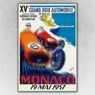 1957 Monaco XV Grand Prix Automobile Race Car Poster - 24x36
