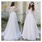 Boho Wedding Dress,Lace wedding dress,Bohemian Wedding Dress,A Line Lace Beach Long Chiffon Cape Wedding Dress  V Neck Open Back