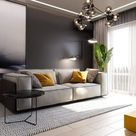 Modern Sputnik chandelier for a contemporary gray living room with yellow contrasts
