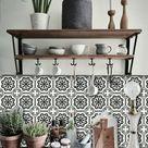 Tile stickers   Tiles for Kitchen/Bathroom Back splash   Floor decals   Testino Vinyl Tile Sticker Pack color Black & Off White