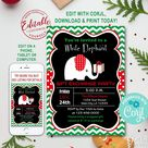 INSTANT DOWNLOAD Corjl Christmas White Elephant Gift Exchange Party Invitation Christmas Invitations Instant Download Editable Invite