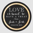 Gold Glitter on Black Wedding Favor Round Label Classic Round Sticker
