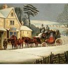 A2 Poster. Winter Scene with the Royal Mail Halted at an Inn