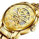 Mens Watch Mechanical Stainless Steel Skeleton Waterproof Automatic Self-Winding Roman Numerals Diamond Dial Wrist Watch - 07-Gold
