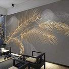 Papier Peint Panoramique 3D Plumes Gaufrées Dorées Tapisserie Murales Papier peint Intissé Chambre Salon Decoration 350x256cm