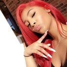 Long Red Carnation Passion Synthetic Lace Front Wig