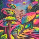 Mushrooms, Fluorescent painting, Glow in dark, UV Glow, Painting
