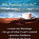My Sunday to do list