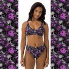Gothic Skulls and Purple Flowers Bikini - M