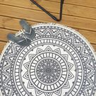 Mandala Floor Mat with Boho Fringe, Round Lightweight Rug, Boho Bathroom Mat, Bohemian Decor, Geometric