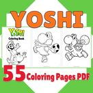 55 Printable Yoshi Coloring Book, Yoshi Coloring Pages PDF, Birthday Activity, Party Favor, Digital Coloring Sheets, Best Gift for Kids