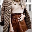Plaid Button Long Sleeve Blazer