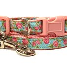 Small Floral Dog Collar and (optional) Leash - Puppy or Dog Collar with Flowers in Pink or Aqua - Teacup Yorkie, Toy Poodle & Tiny Breeds