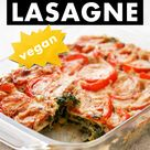 Vegane Spinatlasagne mit Tomaten und Cashewsoße | Vegetarische Lasagne | Einfaches Rezept ohne Soja