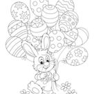 Easter Bunny With Egg Balloons Coloring Page • FREE Printable eBook