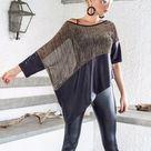 Sequin Asymmetric Top Blouse with Black Leather Details / Sequin Leather Loose Evening Top Blouse  / Asymmetric Plus Size Blouse / 35157