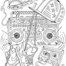 Stereo - Printable Adult Coloring Page from Favoreads (Coloring book pages for adults and kids, Coloring sheets, Colouring designs)