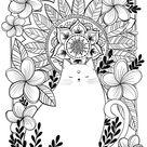 Adult Coloring Indian Cat Mandala Coloring Page