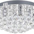 CYE Moderner Runder Kristallleuchter, Unterputz Deckenleuchten aus Klarglas mit 4 Lichtern, Kleine LED Pendelleuchte fr Wohnzimmer, Esszimmer, Schlafzimmer, Wohnzimmer, Gre: D35cm H20cm
