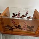 1930s Covered Plate Cheese Box French Cake Box Vintage French Cheese Dish Carved Wood  Reverse Painted Glass Covered Dish Kitchen Storage
