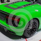 Switzerland; Geneva; March 8, 2018; Audi R8 Spyder V10 Plus, Rear Side; The 88th International Motor Show In Geneva From 8th To 1 Editorial Photo   Image of green, german 128707811
