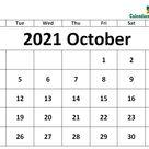 October 2021 Calendar Excel Template
