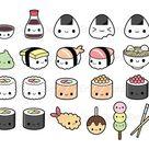 Sushi kawaii Clipart Bundle Cute sushi clip art Onigiri Nigiri Maki Ramen Noodles Soy sauce Japanese food Rolls Printable Planner Stickers