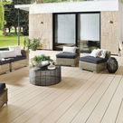 TraumGarten Terrassendiele DreamDeck WPC Platinum creme - Stärke/Breite 20x195 mm, Länge 3 m, glatt / fein geriffelt, Massivprofil