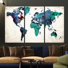Extra Large Push Pin Watercolor World Map in Green Tones, World Map Wall Art, Push Pin Travel Map, Framed Wall Art, Large Wall Art, Map on Canvas, World Map Canvas