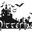 Wandtattoo Mitternacht, Haus, Friedhof