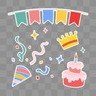 Cartoon Colorful Birthday Sticker Elements, Ribbon, Happy Birthday, Colorful PNG Transparent Clipart Image and PSD File for Free Download