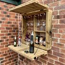 Wooden Garden Wall Bar With Copper Pipe