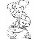 Clown On Tricycle coloring page