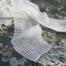 Lightweight Narrow Cream White Scarf Artisan Hand Woven Lacy | Etsy