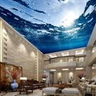 3D Underwater Realistic Ceiling Wallpaper Mural for Home or Business