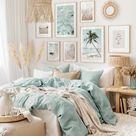 Turquoise beach gallery wall beach wall art turquoise bedroom oak frames