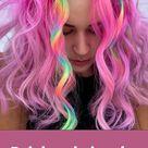 Rainbow hair color and hair dry ideas for medium-length hair