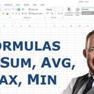 Excel Formulas for Sum, Average, Max and Min