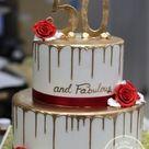 2 Tiered Gold Drip 50th Birthday Cake