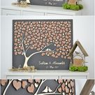 3D LOVE TREE Wedding guest book alternative tree wood Custom unique guest book hearts leaves Rustic wedding Rustic wooden tree Tree of life