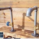Pair Of Galvanized Faucet Taps - Round Handle - Natural / Red And Blue