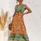 Boho Button down Belted Dress - Green-Tangerine Floral / 2XL