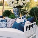 Kate + Jere's Blue and White Reception Lounge Furnishings