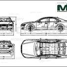 Audi A8 2011   2D drawing blueprints   30118   Model COPY   English